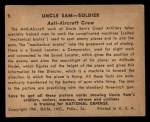1941 Gum Inc. Uncle Sam Home Defense #9   Anti-Aircraft Crew Back Thumbnail