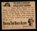 1950 Topps Bring Em Back Alive #32   The Great Adventurer Back Thumbnail