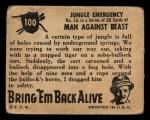 1950 Topps Bring Em Back Alive #100   Jungle Emergency Back Thumbnail
