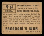 1950 Topps Freedoms War #67   Alone Behind the Lines   Back Thumbnail