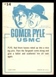 1965 Fleer Gomer Pyle #14   The Big Wind From Winnetka! Back Thumbnail
