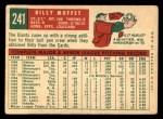 1959 Topps #241  Billy Muffett  Back Thumbnail