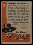 1958 Topps Zorro #80   Relaxing With Gracie Back Thumbnail