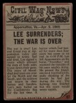 1962 Topps Civil War News #87   The War Ends Back Thumbnail