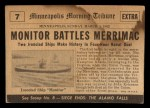 1954 Topps Scoop #7   Monitor Battles Merrimac  Back Thumbnail