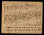 1938 Gum Inc. Horrors of War #31   Japanese Bombers Raid South Station Back Thumbnail