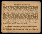 1938 Gum Inc. Horrors of War #4   War Planes Over Tientsin Back Thumbnail