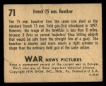 1939 Gum Inc. War News Pictures #71   French 75Mm Howitzer Back Thumbnail