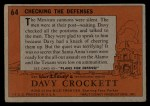 1956 Topps Davy Crockett #64 ORG  Checking The Defenses  Back Thumbnail