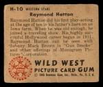1949 Bowman Wild West #10 H Raymond Hatton  Back Thumbnail