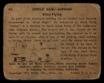 1941 Gum Inc. Uncle Sam Home Defense #44   Blind Flying Back Thumbnail
