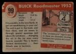 1954 Topps World on Wheels #99   Buick Roadmaster 1953 Back Thumbnail