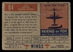 1952 Topps Wings #84   IL-4 Back Thumbnail