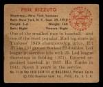 1950 Bowman #11  Phil Rizzuto  Back Thumbnail