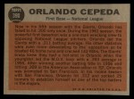 1962 Topps #390   -  Orlando Cepeda  All-Star Back Thumbnail