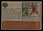 1962 Topps #215  Woodie Held  Back Thumbnail
