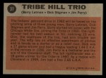 1962 Topps #37   -  Jim Perry / Dick Stigman / Barry Latman Tribe Hill Trio Back Thumbnail