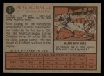 1962 Topps #3  Pete Runnels  Back Thumbnail