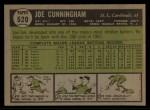 1961 Topps #520  Joe Cunningham  Back Thumbnail