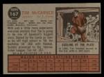 1962 Topps #167 NRM Tim McCarver  Back Thumbnail