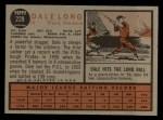 1962 Topps #228  Dale Long  Back Thumbnail