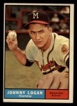 1961 Topps #524  Johnny Logan  Front Thumbnail