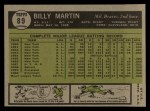 1961 Topps #89  Billy Martin  Back Thumbnail