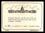 1964 Topps JFK #22   JFK & Jackie At Bogota Col. Back Thumbnail