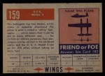 1952 Topps Wings #159   G.C.A. Model-2 Back Thumbnail