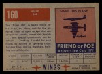 1952 Topps Wings #160   Hiller 360 Back Thumbnail