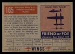 1952 Topps Wings #165   Boulton Paul P-111 Back Thumbnail