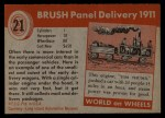 1954 Topps World on Wheels #21   Brush Panel Delivery 1911 Back Thumbnail