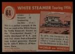 1954 Topps World on Wheels #61   White Steamer Touring 1906 Back Thumbnail