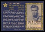 1953 Topps Who-Z-At Star #33  Gig Young  Back Thumbnail