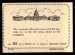 1964 Topps JFK #63   Jackie Poses With Son John Jr. Back Thumbnail