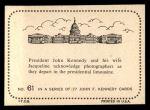 1964 Topps JFK #61   JFK & Jackie Back Thumbnail