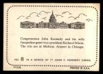 1964 Topps JFK #8   Congressman Kennedy & Wife W/ VP Nixon Back Thumbnail
