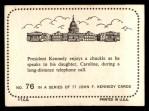 1964 Topps JFK #76   JFK On The Phone Back Thumbnail