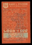1952 Topps Look 'N See #116  Robert L Stevenson  Back Thumbnail