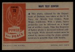 1954 Bowman Power for Peace #72   Navy Test Center Back Thumbnail