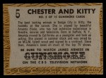 1958 Topps TV Westerns #5   Chester and Kitty  Back Thumbnail