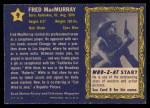 1953 Topps Who-Z-At Star #9  Fred MacMurray  Back Thumbnail