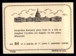 1964 Topps JFK #64   Jackie - John Jr. & Caroline Back Thumbnail