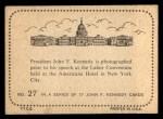 1964 Topps JFK #27   Labor Convention - New York City Back Thumbnail