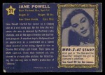 1953 Topps Who-Z-At Star #21  Jane Powell  Back Thumbnail