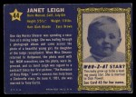 1953 Topps Who-Z-At Star #44  Janet Leigh  Back Thumbnail
