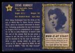 1953 Topps Who-Z-At Star #61  Steve Forrest  Back Thumbnail