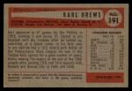1954 Bowman #191  Karl Drews  Back Thumbnail