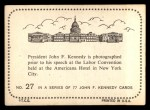 1964 Topps JFK #27   Labor Convention - New York City Back Thumbnail