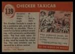 1954 Topps World on Wheels #139   Checker Taxicab Back Thumbnail